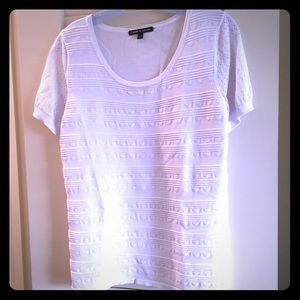Stripe pattern white sweater large t shirt top